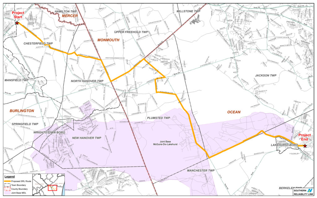 The proposed Southern Reliability Link pipeline route. EELC argues that the Board of Utilities has not demonstrated a public need for the pipeline and has circumvented local approval processes. Photo courtesy of Skipping Stone