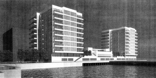 Shipyard submitted a proposal for seventy-eight additional units to the Hoboken Planning Board after they had completed 1160 approved units on nearby parcels, thus reneging on their Developer's Agreement with the city to build a portion of Hoboken's continuous public waterfront park here. Rendering of proposed Monarch high-rise project. Photo courtesy FBW.
